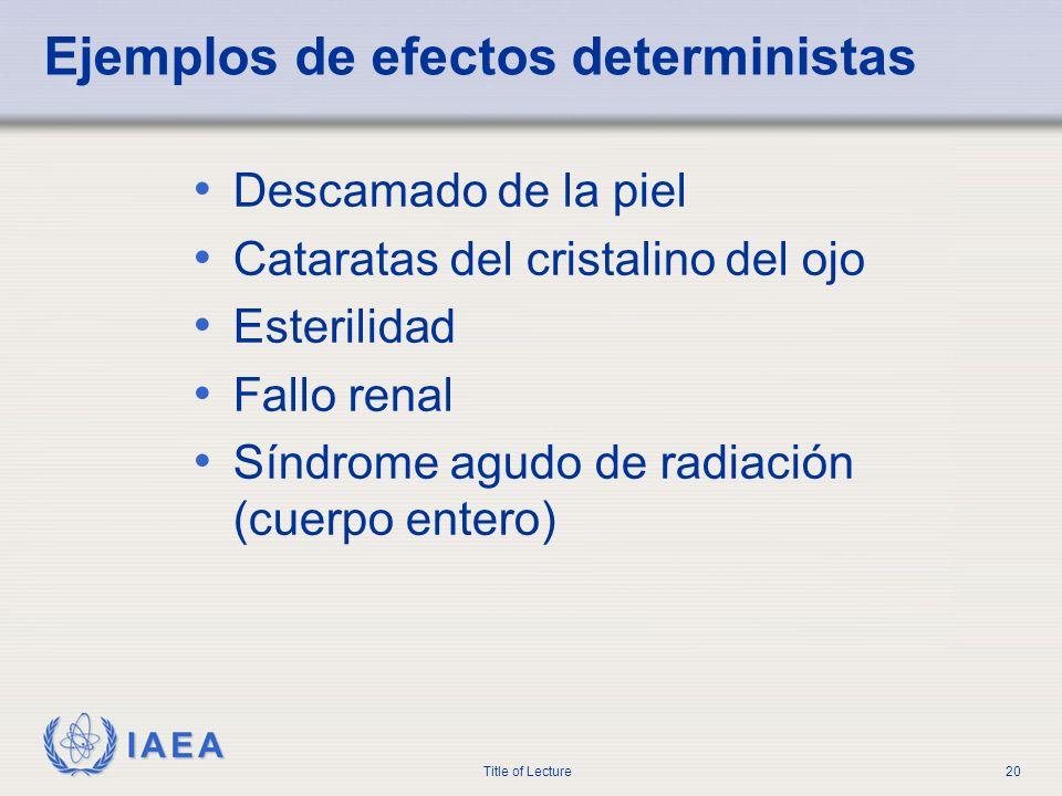 IAEA Title of Lecture20 Ejemplos de efectos deterministas Descamado de la piel Cataratas del cristalino del ojo Esterilidad Fallo renal Síndrome agudo