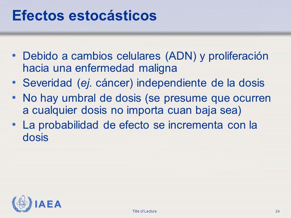 IAEA Title of Lecture24 Efectos estocásticos Debido a cambios celulares (ADN) y proliferación hacia una enfermedad maligna Severidad (ej. cáncer) inde