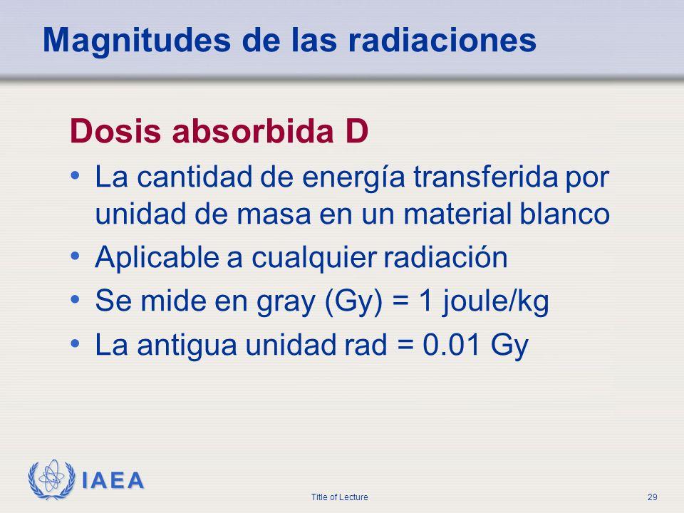 IAEA Title of Lecture29 Magnitudes de las radiaciones Dosis absorbida D La cantidad de energía transferida por unidad de masa en un material blanco Ap