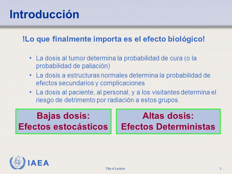 IAEA Title of Lecture3 Introducción !Lo que finalmente importa es el efecto biológico! La dosis al tumor determina la probabilidad de cura (o la proba