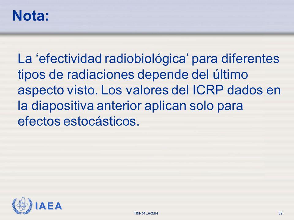 IAEA Title of Lecture32 Nota: La efectividad radiobiológica para diferentes tipos de radiaciones depende del último aspecto visto. Los valores del ICR