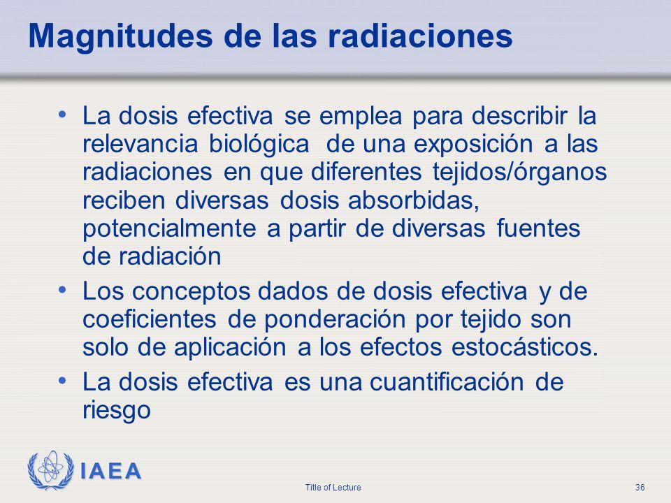 IAEA Title of Lecture36 Magnitudes de las radiaciones La dosis efectiva se emplea para describir la relevancia biológica de una exposición a las radia