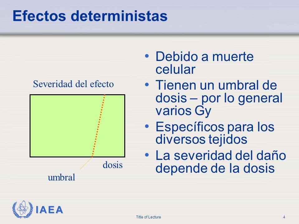 IAEA Title of Lecture4 Efectos deterministas Debido a muerte celular Tienen un umbral de dosis – por lo general varios Gy Específicos para los diverso