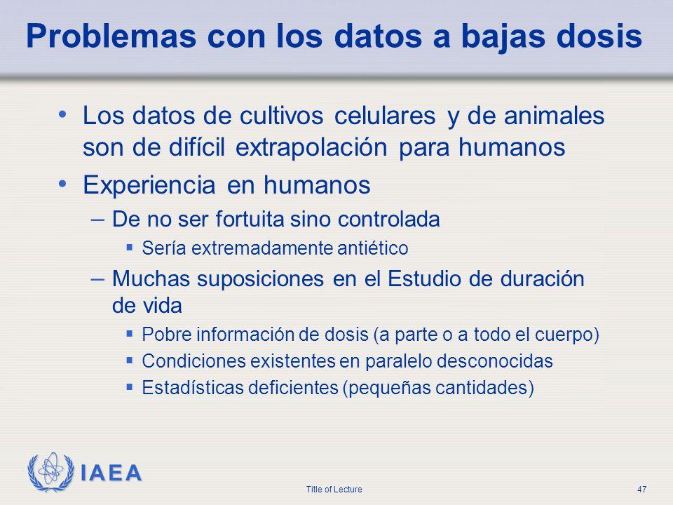 IAEA Title of Lecture47 Problemas con los datos a bajas dosis Los datos de cultivos celulares y de animales son de difícil extrapolación para humanos