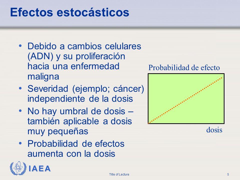 IAEA Title of Lecture5 Efectos estocásticos Debido a cambios celulares (ADN) y su proliferación hacia una enfermedad maligna Severidad (ejemplo; cánce