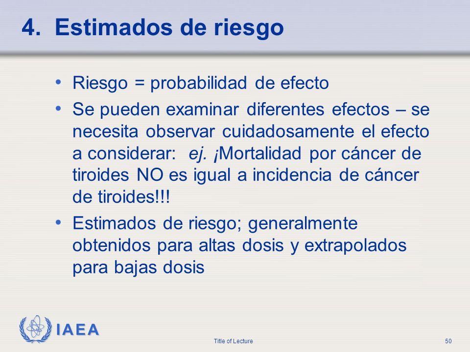 IAEA Title of Lecture50 4. Estimados de riesgo Riesgo = probabilidad de efecto Se pueden examinar diferentes efectos – se necesita observar cuidadosam