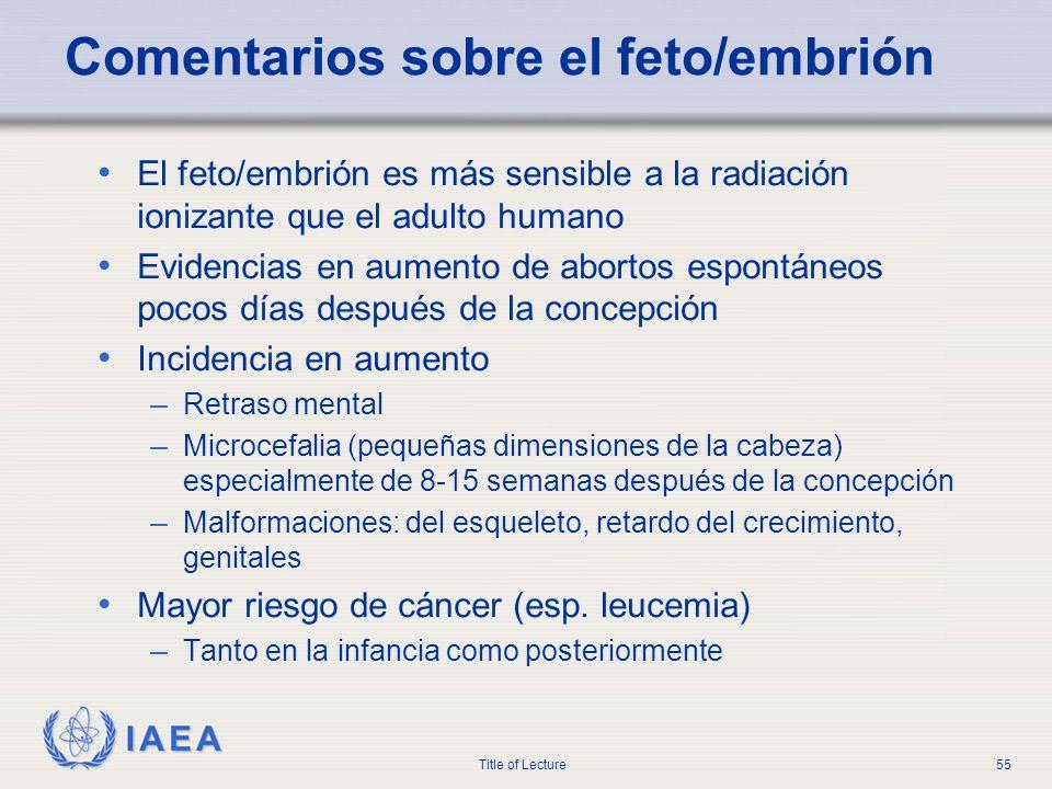 IAEA Title of Lecture55 Comentarios sobre el feto/embrión El feto/embrión es más sensible a la radiación ionizante que el adulto humano Evidencias en