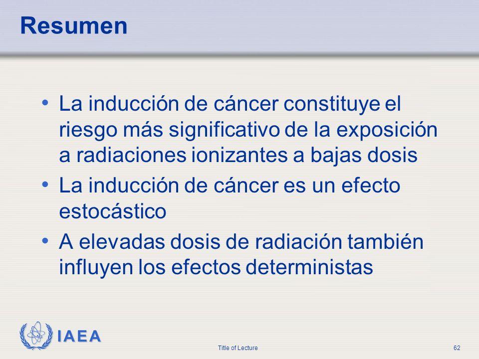 IAEA Title of Lecture62 Resumen La inducción de cáncer constituye el riesgo más significativo de la exposición a radiaciones ionizantes a bajas dosis