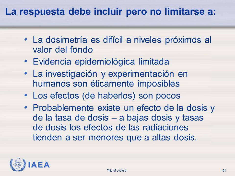 IAEA Title of Lecture68 La respuesta debe incluir pero no limitarse a: La dosimetría es difícil a niveles próximos al valor del fondo Evidencia epidem