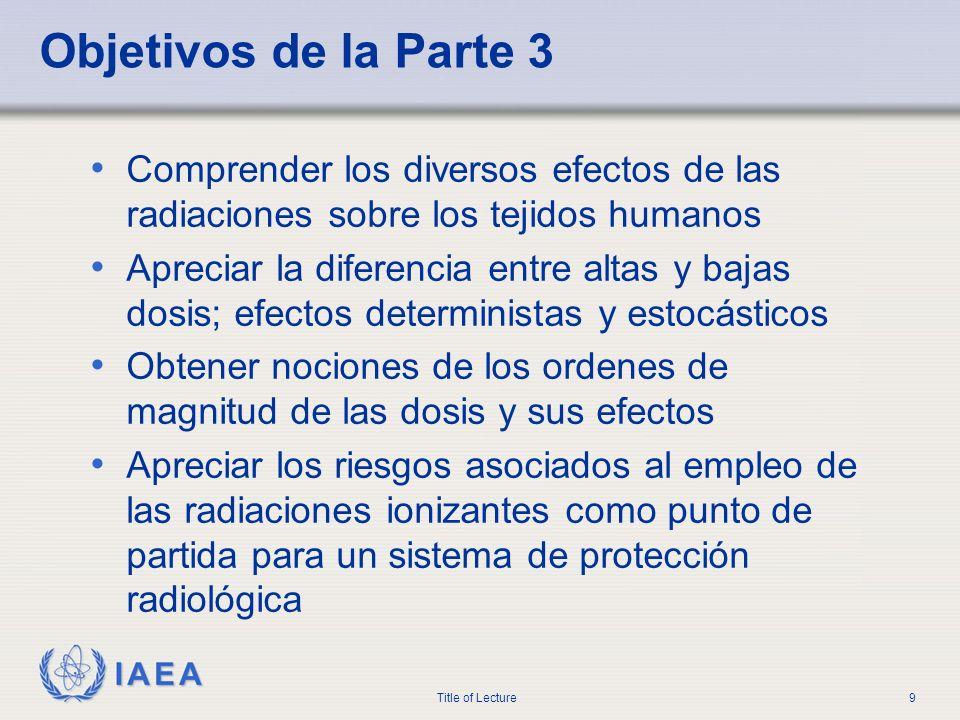 IAEA Title of Lecture9 Objetivos de la Parte 3 Comprender los diversos efectos de las radiaciones sobre los tejidos humanos Apreciar la diferencia ent