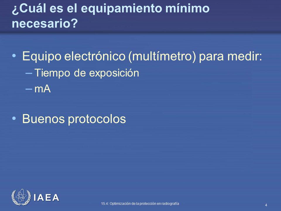 IAEA 15.4: Optimización de la protección en radiografía 5 Exactitud del selector de tiempo (I) Método Aproximadamente 70 kVp, 200 mA Medir tiempo a todos los valores comúnmente usados Calcular el error entre tiempo seleccionado y real