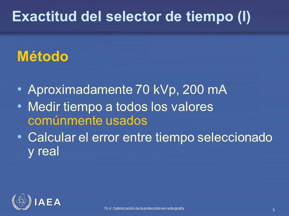 IAEA 15.4: Optimización de la protección en radiografía 6 Exactitud del selector de tiempo (II) El tiempo se mide normalmente desde el instante en que la salida del tubo de rayos X alcanza el 75 % del máximo hasta que cae por debajo de 75 % Esto puede crear problemas cuando la onda de exposición presenta tiempos largos de subida y caída