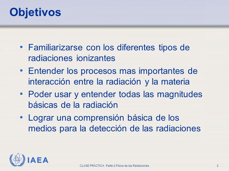 IAEA CLASE PRÁCTICA Parte 2.Física de las Radiaciones2 Objetivos Familiarizarse con los diferentes tipos de radiaciones ionizantes Entender los proces