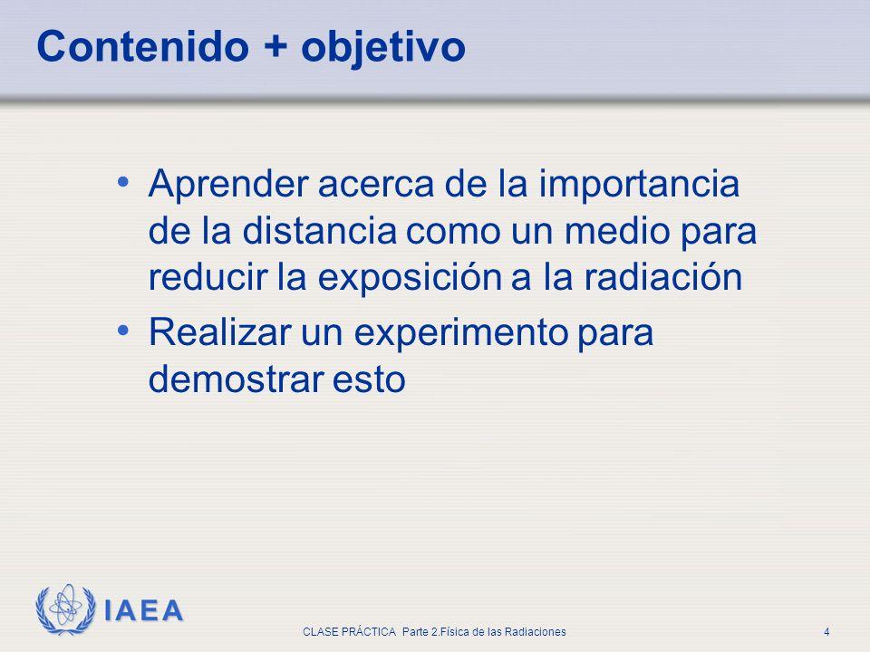 IAEA CLASE PRÁCTICA Parte 2.Física de las Radiaciones4 Aprender acerca de la importancia de la distancia como un medio para reducir la exposición a la