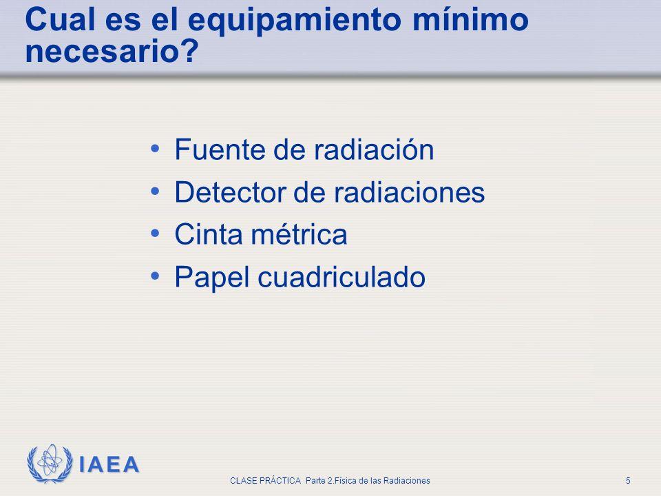 IAEA CLASE PRÁCTICA Parte 2.Física de las Radiaciones5 Fuente de radiación Detector de radiaciones Cinta métrica Papel cuadriculado Cual es el equipam