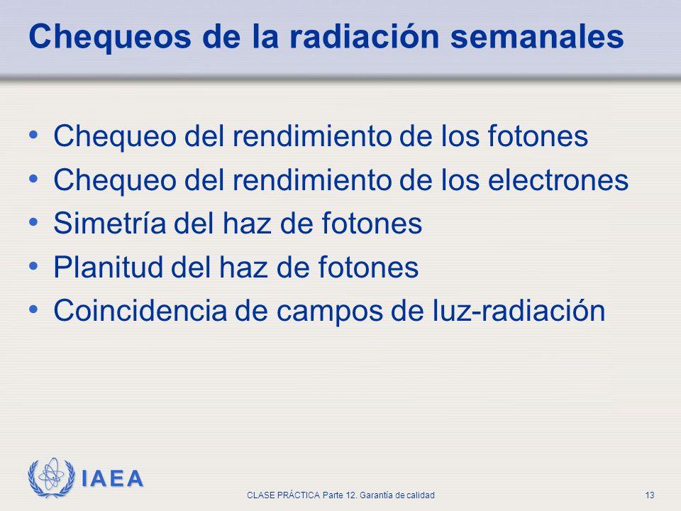 IAEA CLASE PRÁCTICA Parte 12. Garantía de calidad13 Chequeos de la radiación semanales Chequeo del rendimiento de los fotones Chequeo del rendimiento