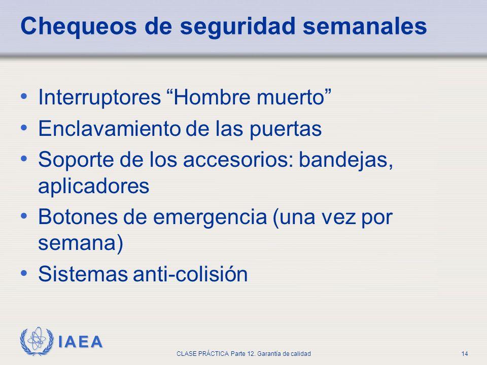 IAEA CLASE PRÁCTICA Parte 12. Garantía de calidad14 Chequeos de seguridad semanales Interruptores Hombre muerto Enclavamiento de las puertas Soporte d