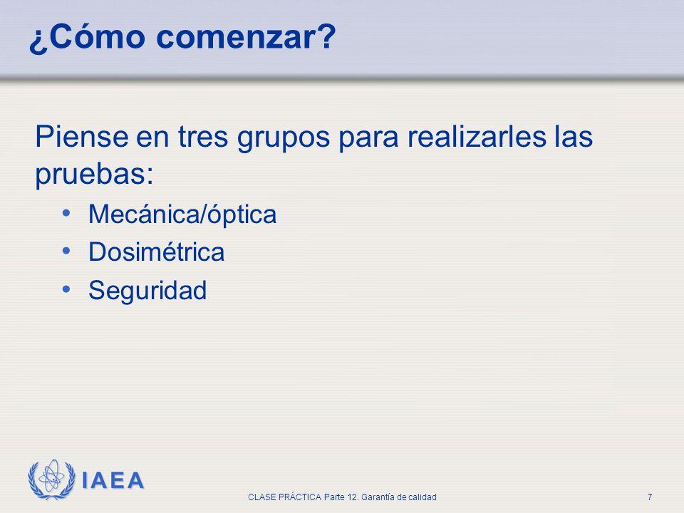 IAEA CLASE PRÁCTICA Parte 12. Garantía de calidad7 ¿Cómo comenzar? Piense en tres grupos para realizarles las pruebas: Mecánica/óptica Dosimétrica Seg