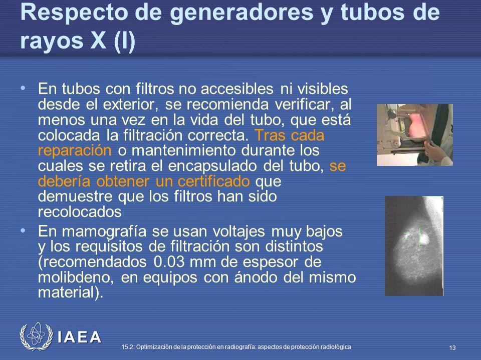 IAEA 15.2: Optimización de la protección en radiografía: aspectos de protección radiológica 13 Respecto de generadores y tubos de rayos X (I) En tubos con filtros no accesibles ni visibles desde el exterior, se recomienda verificar, al menos una vez en la vida del tubo, que está colocada la filtración correcta.