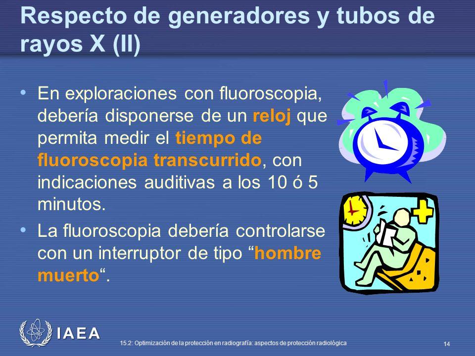IAEA 15.2: Optimización de la protección en radiografía: aspectos de protección radiológica 14 Respecto de generadores y tubos de rayos X (II) En exploraciones con fluoroscopia, debería disponerse de un reloj que permita medir el tiempo de fluoroscopia transcurrido, con indicaciones auditivas a los 10 ó 5 minutos.