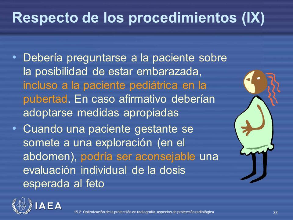 IAEA 15.2: Optimización de la protección en radiografía: aspectos de protección radiológica 33 Respecto de los procedimientos (IX) Debería preguntarse a la paciente sobre la posibilidad de estar embarazada, incluso a la paciente pediátrica en la pubertad.