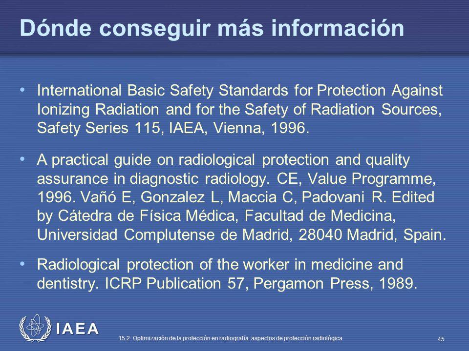 IAEA 15.2: Optimización de la protección en radiografía: aspectos de protección radiológica 45 Dónde conseguir más información International Basic Safety Standards for Protection Against Ionizing Radiation and for the Safety of Radiation Sources, Safety Series 115, IAEA, Vienna, 1996.