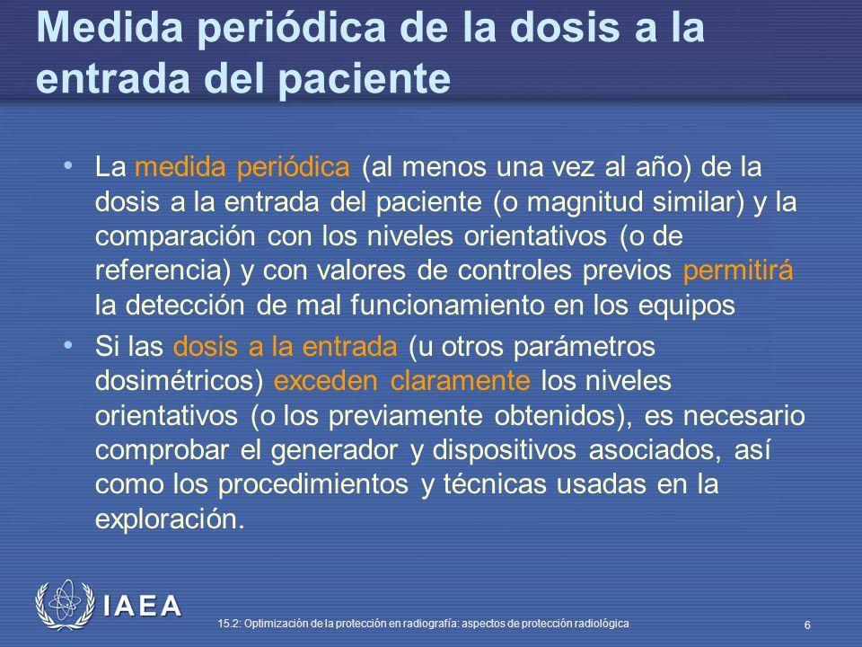 IAEA 15.2: Optimización de la protección en radiografía: aspectos de protección radiológica 6 Medida periódica de la dosis a la entrada del paciente La medida periódica (al menos una vez al año) de la dosis a la entrada del paciente (o magnitud similar) y la comparación con los niveles orientativos (o de referencia) y con valores de controles previos permitirá la detección de mal funcionamiento en los equipos Si las dosis a la entrada (u otros parámetros dosimétricos) exceden claramente los niveles orientativos (o los previamente obtenidos), es necesario comprobar el generador y dispositivos asociados, así como los procedimientos y técnicas usadas en la exploración.