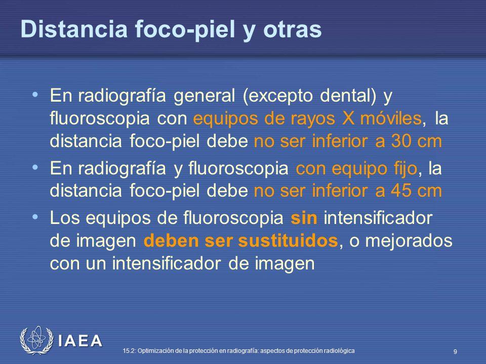 IAEA 15.2: Optimización de la protección en radiografía: aspectos de protección radiológica 9 Distancia foco-piel y otras En radiografía general (excepto dental) y fluoroscopia con equipos de rayos X móviles, la distancia foco-piel debe no ser inferior a 30 cm En radiografía y fluoroscopia con equipo fijo, la distancia foco-piel debe no ser inferior a 45 cm Los equipos de fluoroscopia sin intensificador de imagen deben ser sustituidos, o mejorados con un intensificador de imagen