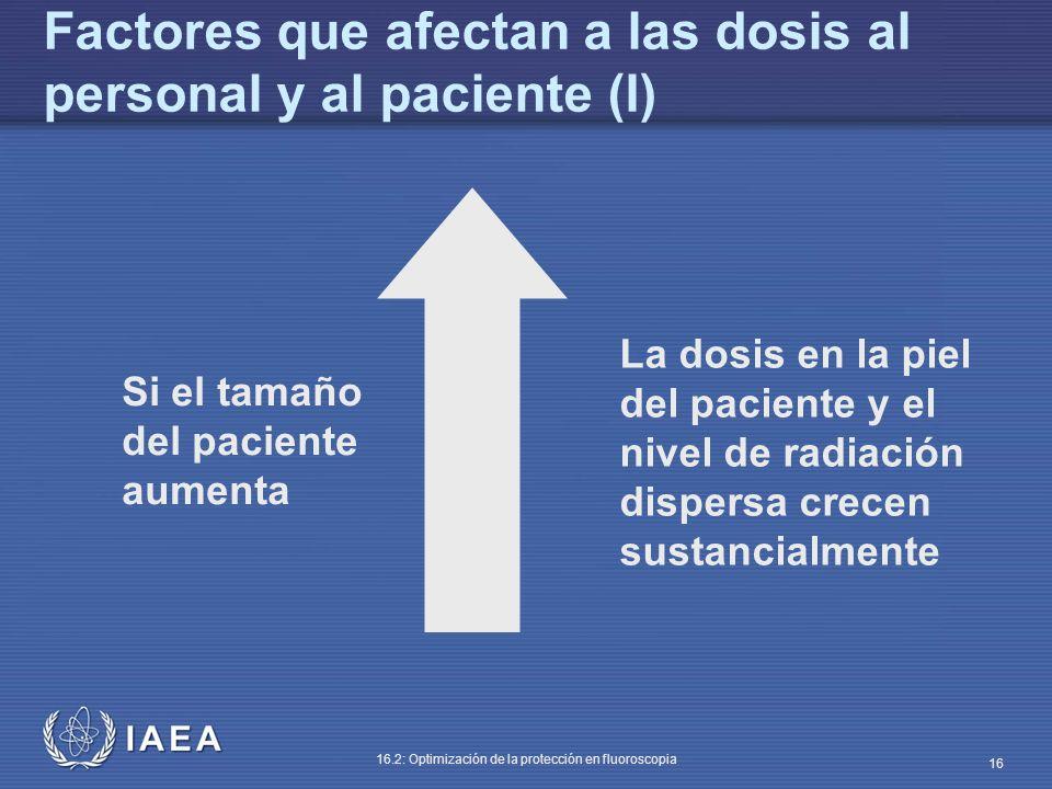 IAEA 16.2: Optimización de la protección en fluoroscopia 16 Si el tamaño del paciente aumenta La dosis en la piel del paciente y el nivel de radiación