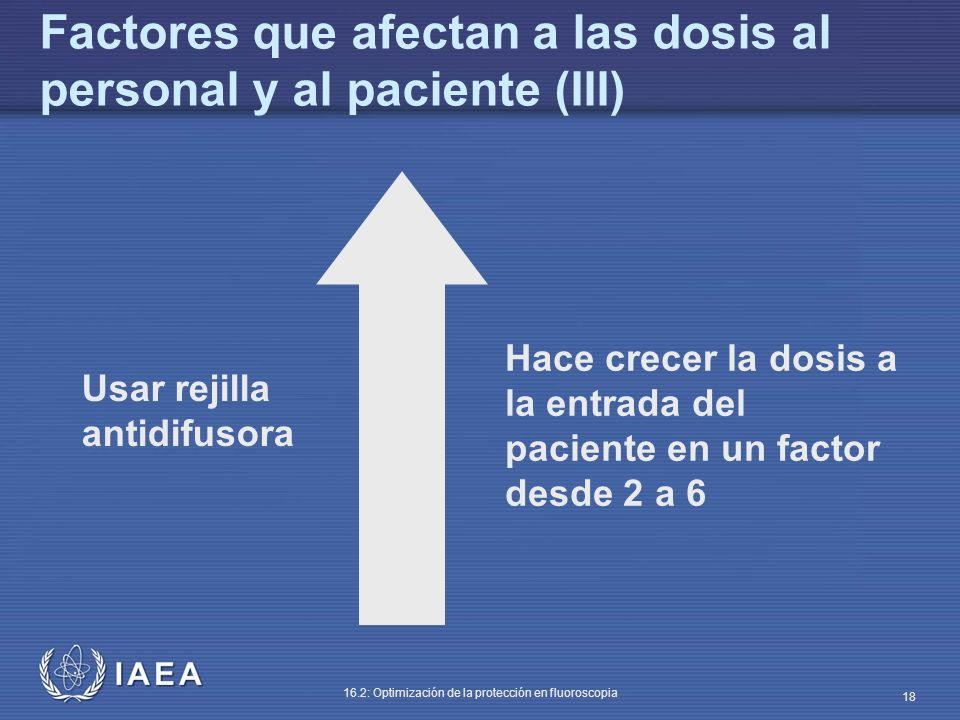 IAEA 16.2: Optimización de la protección en fluoroscopia 18 Usar rejilla antidifusora Hace crecer la dosis a la entrada del paciente en un factor desd