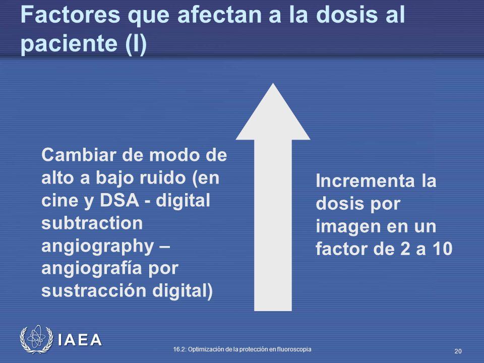IAEA 16.2: Optimización de la protección en fluoroscopia 20 Cambiar de modo de alto a bajo ruido (en cine y DSA - digital subtraction angiography – an