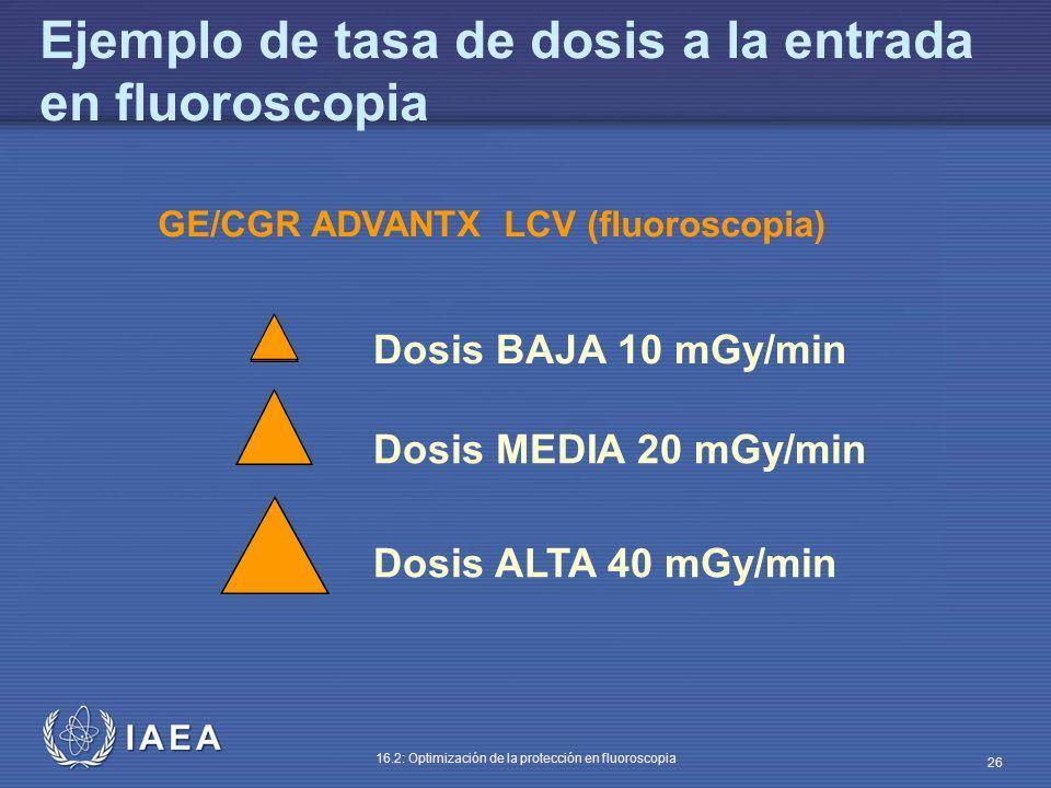 IAEA 16.2: Optimización de la protección en fluoroscopia 26 GE/CGR ADVANTX LCV (fluoroscopia) Dosis BAJA 10 mGy/min Dosis MEDIA 20 mGy/min Dosis ALTA