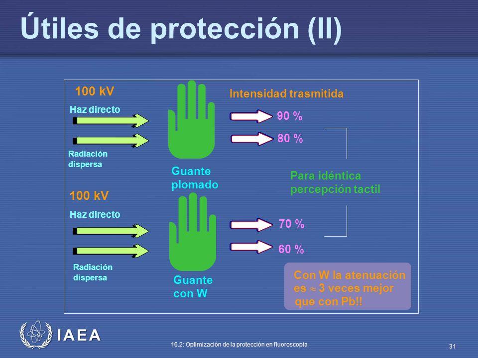 IAEA 16.2: Optimización de la protección en fluoroscopia 31 Útiles de protección (II) Haz directo Guante plomado 90 % 60 % 70 % 80 % Con W la atenuaci