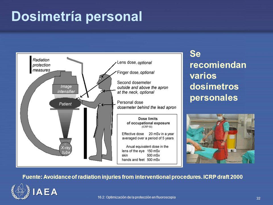 IAEA 16.2: Optimización de la protección en fluoroscopia 32 Dosimetría personal Se recomiendan varios dosímetros personales Fuente: Avoidance of radia