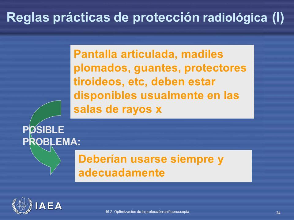 IAEA 16.2: Optimización de la protección en fluoroscopia 34 Pantalla articulada, madiles plomados, guantes, protectores tiroideos, etc, deben estar di