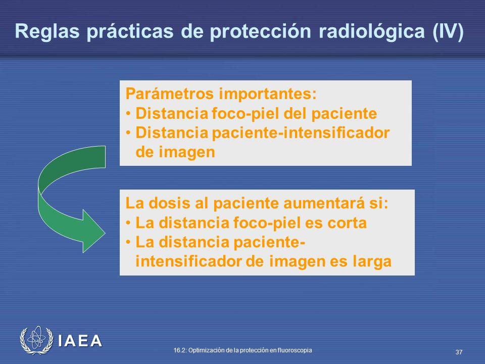 IAEA 16.2: Optimización de la protección en fluoroscopia 37 Parámetros importantes: Distancia foco-piel del paciente Distancia paciente-intensificador