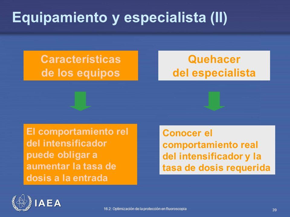 IAEA 16.2: Optimización de la protección en fluoroscopia 39 Características de los equipos Quehacer del especialista El comportamiento rel del intensi