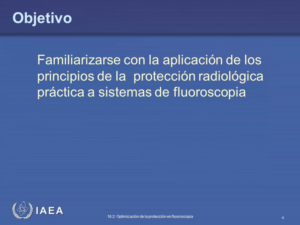 IAEA 16.2: Optimización de la protección en fluoroscopia 4 Objetivo Familiarizarse con la aplicación de los principios de la protección radiológica pr
