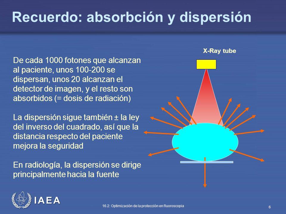 IAEA 16.2: Optimización de la protección en fluoroscopia 6 Recuerdo: absorbción y dispersión De cada 1000 fotones que alcanzan al paciente, unos 100-2