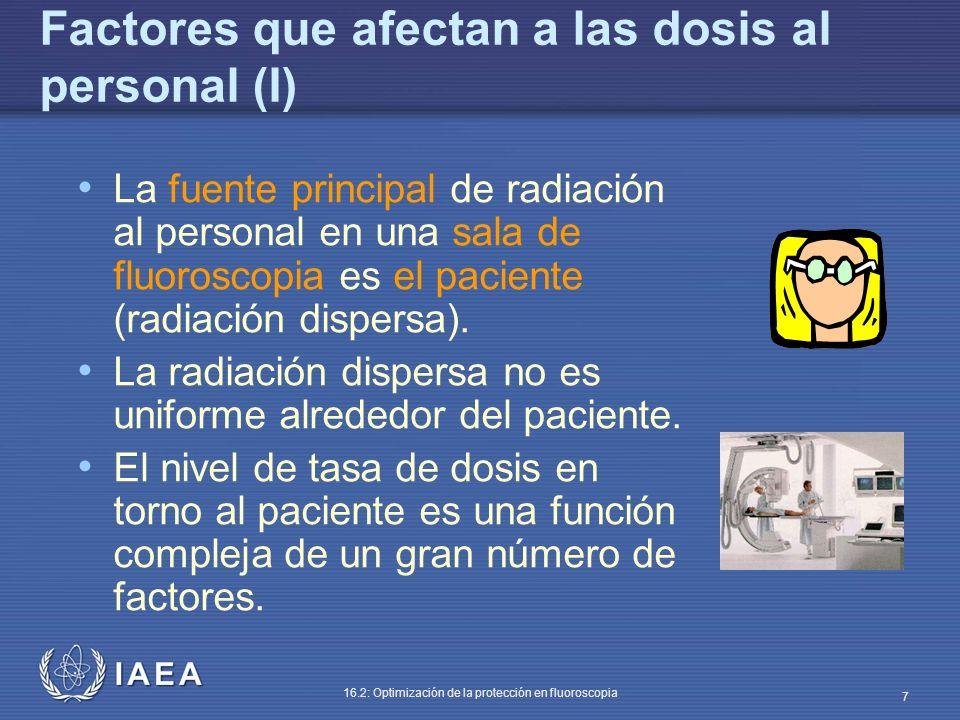 IAEA 16.2: Optimización de la protección en fluoroscopia 7 Factores que afectan a las dosis al personal (I) La fuente principal de radiación al person