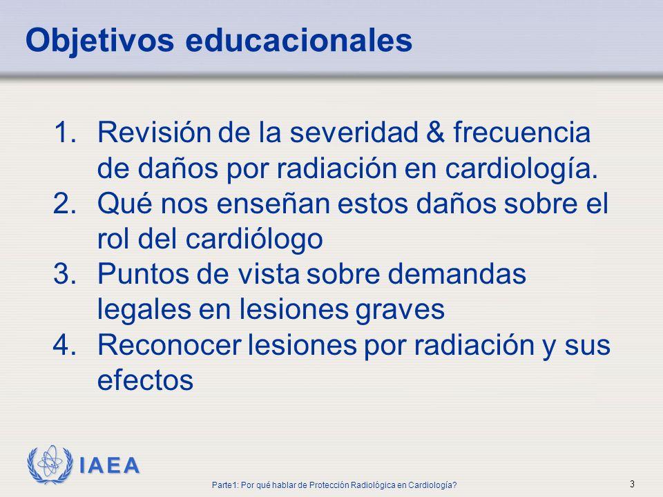 IAEA 1.Revisión de la severidad & frecuencia de daños por radiación en cardiología. 2.Qué nos enseñan estos daños sobre el rol del cardiólogo 3.Puntos