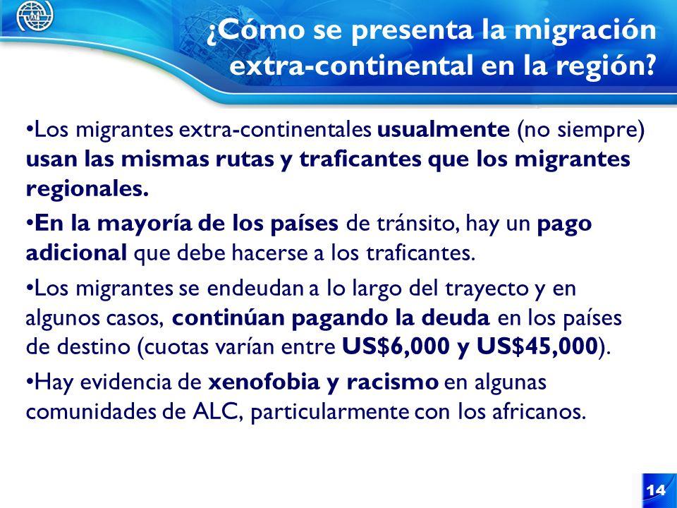 Los migrantes extra-continentales usualmente (no siempre) usan las mismas rutas y traficantes que los migrantes regionales. En la mayoría de los paíse