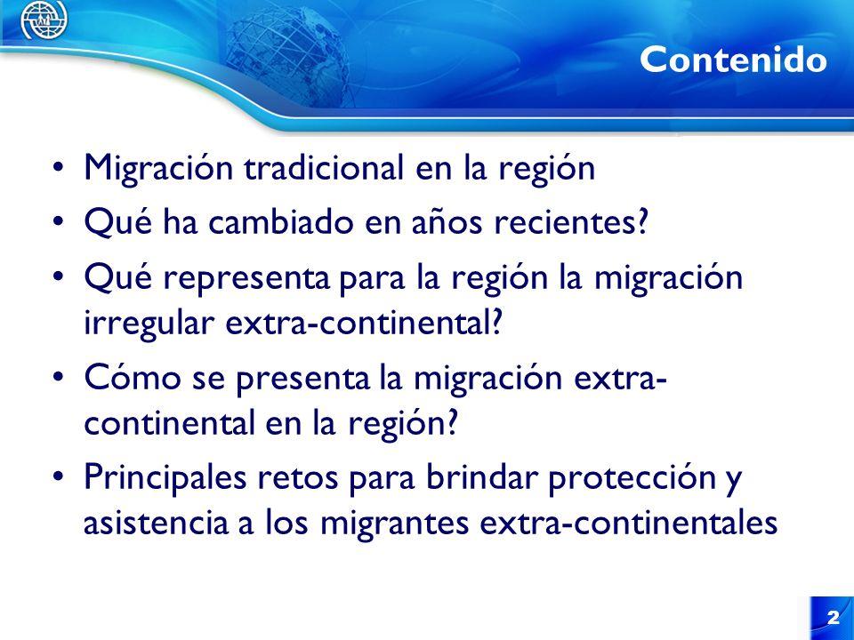 Contenido Migración tradicional en la región Qué ha cambiado en años recientes? Qué representa para la región la migración irregular extra-continental