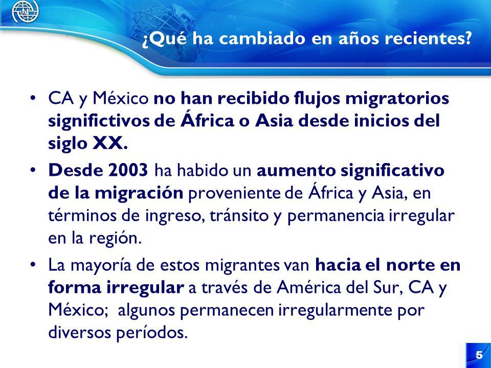 CA y México no han recibido flujos migratorios significtivos de África o Asia desde inicios del siglo XX. Desde 2003 ha habido un aumento significativ