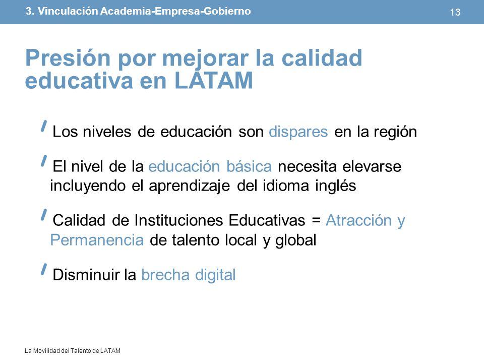 La Movilidad del Talento de LATAM 13 Los niveles de educación son dispares en la región El nivel de la educación básica necesita elevarse incluyendo e