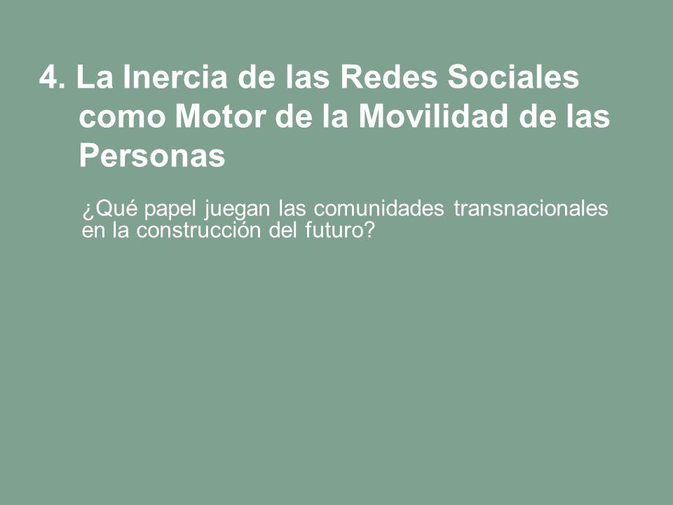 4. La Inercia de las Redes Sociales como Motor de la Movilidad de las Personas ¿Qué papel juegan las comunidades transnacionales en la construcción de