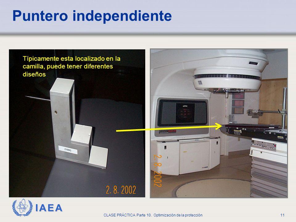 IAEA CLASE PRÁCTICA Parte 10. Optimización de la protección11 Puntero independiente Típicamente esta localizado en la camilla, puede tener diferentes