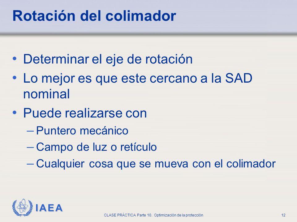 IAEA CLASE PRÁCTICA Parte 10. Optimización de la protección12 Rotación del colimador Determinar el eje de rotación Lo mejor es que este cercano a la S
