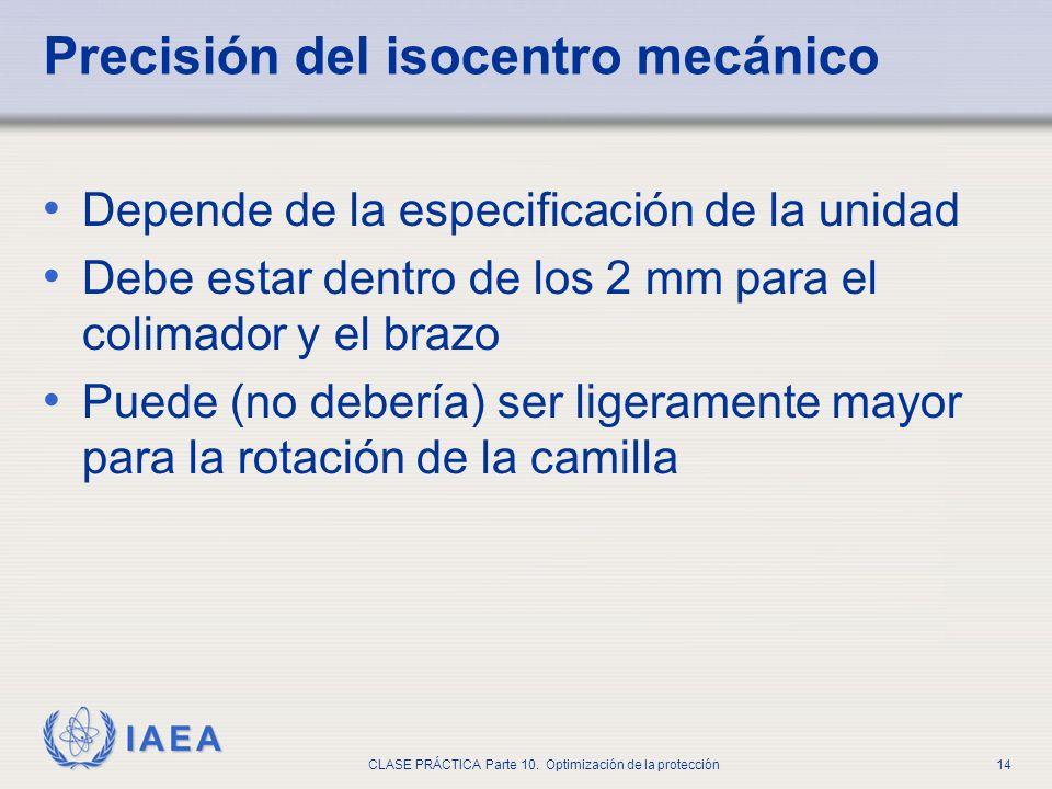 IAEA CLASE PRÁCTICA Parte 10. Optimización de la protección14 Precisión del isocentro mecánico Depende de la especificación de la unidad Debe estar de