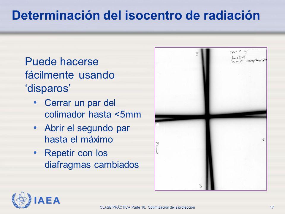 IAEA CLASE PRÁCTICA Parte 10. Optimización de la protección17 Determinación del isocentro de radiación Puede hacerse fácilmente usando disparos Cerrar